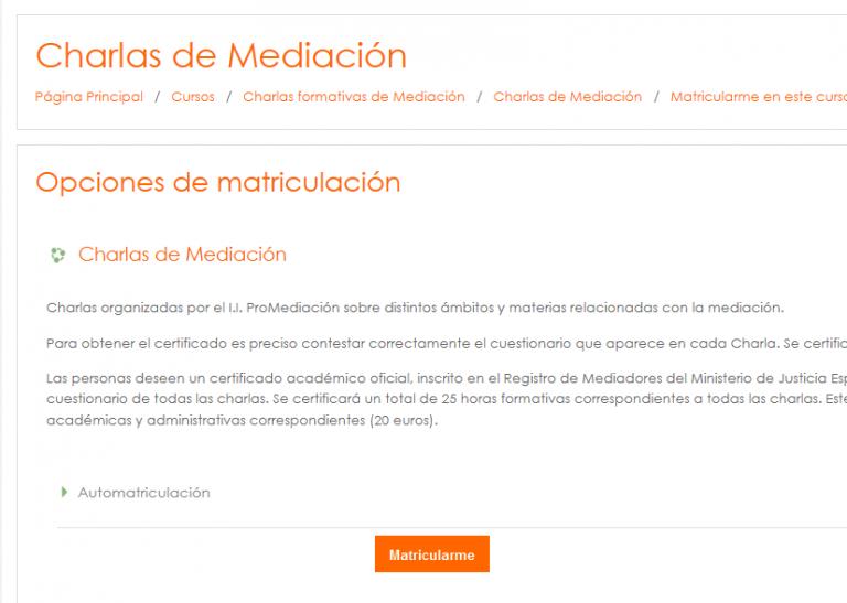 Matricularse como usuario alumnos 768x547 - Charlas sobre mediación
